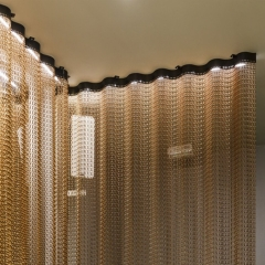 Decorative aluminum metal hanging fly chain link curtain screen